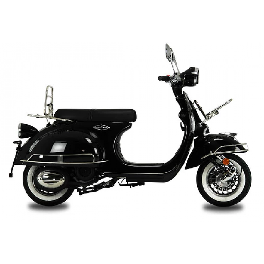 AJS Modena Solid Black 125cc Scooter, Classic Looks, Brand